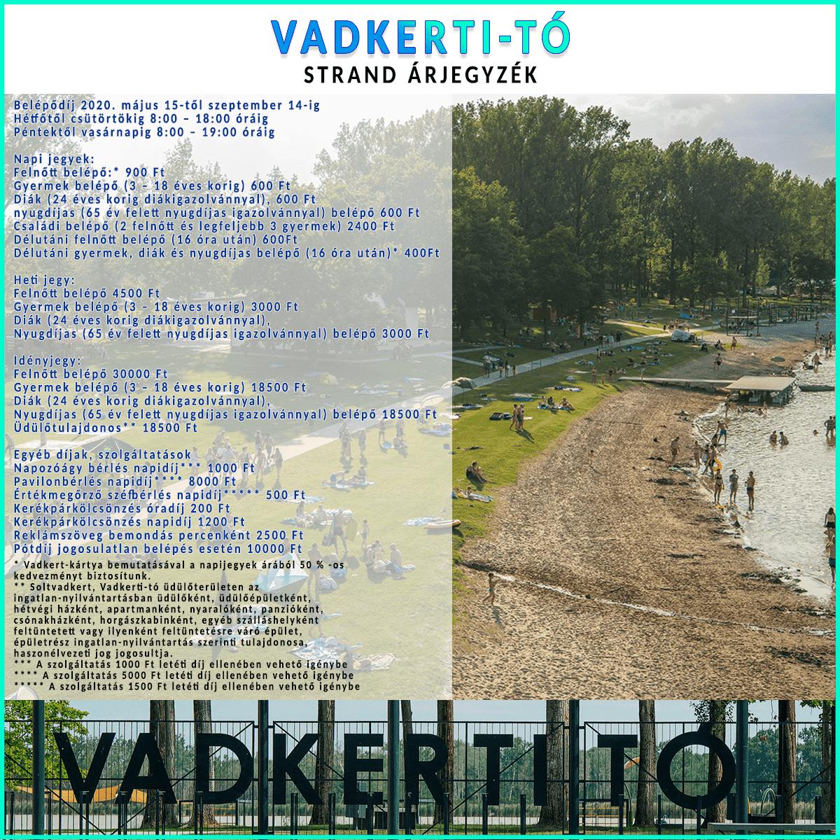 Vadkerti-Tó Strand árjegyzék